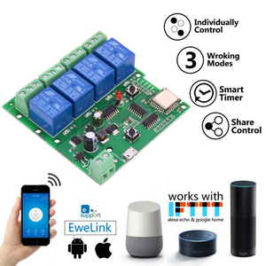 Lonten DC5V 4 Channel 10A Relay Wifi Nirkabel Delay Relay 4Way Modul Aplikasi Remote Control untuk Smart Home Android IOS