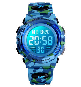 SKMEI army style kids watches 1548 LED light 5atm waterproof kids silicone band reloj camouflage color cheap children watches