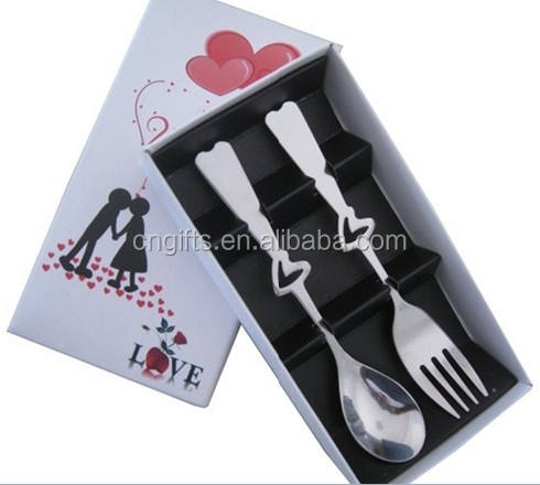 Ywbeyond Tableware 2 in1Heart Shaped Love SpoonとFork Party Return Gifts Weddingプレゼント
