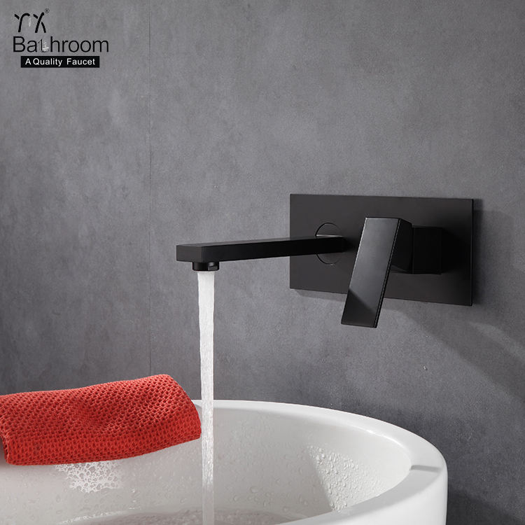 Square with base matte black Wall Mounted two hole basin faucet with cUPC Certification bathroom taps faucet tapware