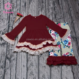 Yawoo wholesale childrens boutique clothing sets burgundy floral lace outfit baby clothing