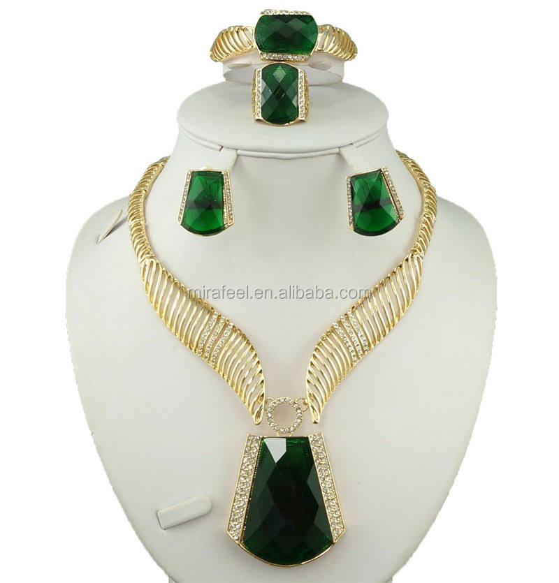 big diamonds African jewelry gold sets factory wholesale 2016 new design necklace big set