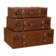 In Stock Vintage Style Leather handmade Retro Vintage Suitcase , Classical Luggage Box , Steamer Trunk