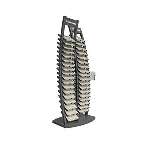 SR109-Factory Custom Stone Exhibition Rack Metal Showroom Display Racks grind black stone ring tumbled stone display rack