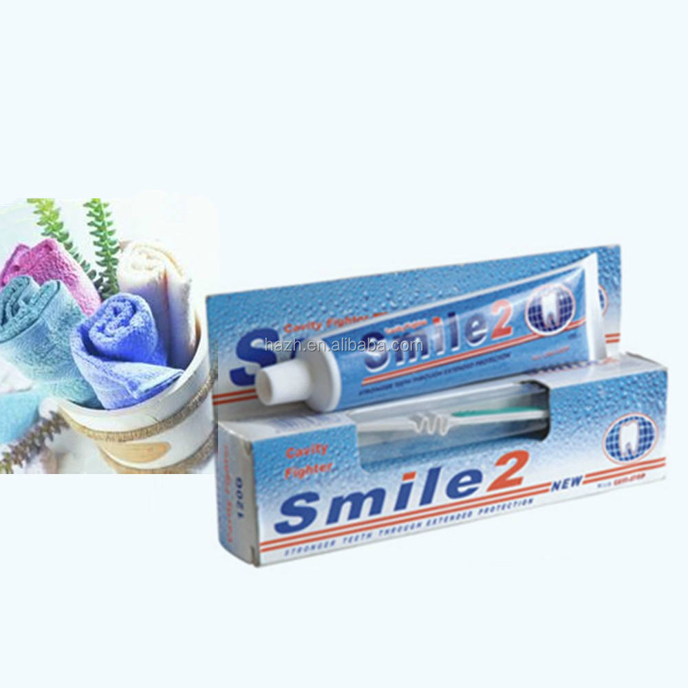 2015 new brand toothpaste Double Two Smile Toothpaste with toothbrush in one
