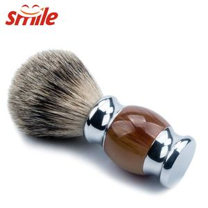 Custom Logo Traveling Handmade Mens Pure Badger Hair Shaving Brush With Resin Handle