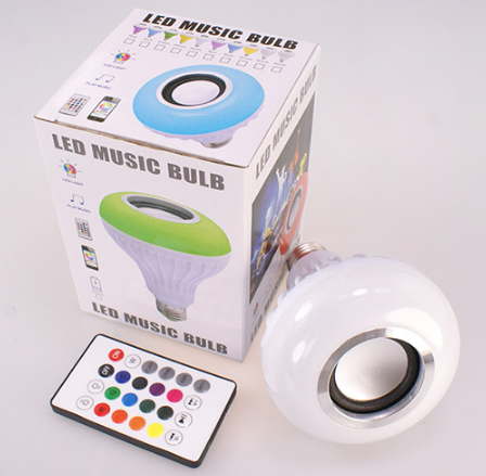 RGB LED Wireless Light Bulb Speaker, Smart Music Bulb E27 Remote Control 12W LED Bulb Speaker,led music bulb wireless BT