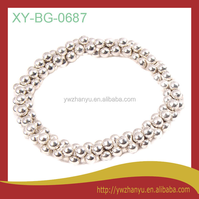 fashion silver dog bone beads elastic thick bracelets