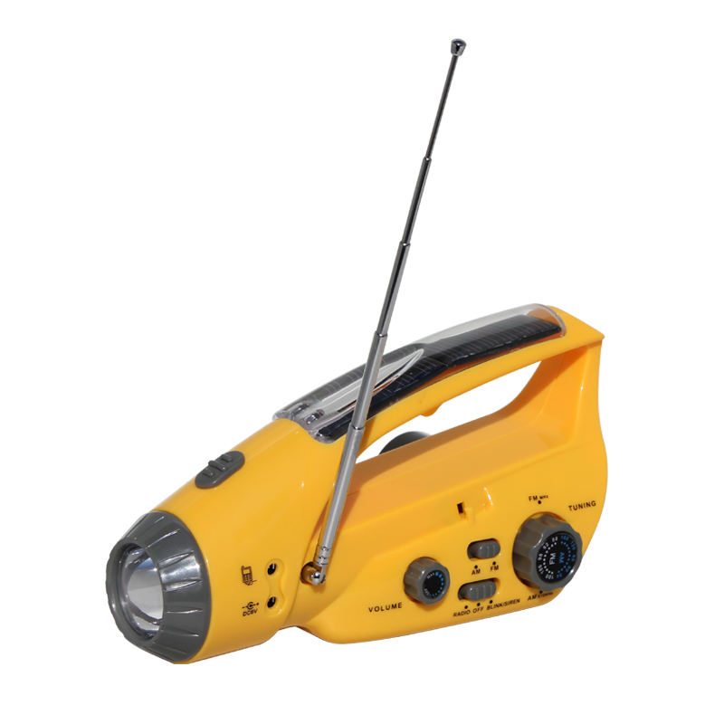 Outdoor Activities dynamo hand crank flashlight radio solar rechargeable emergency light