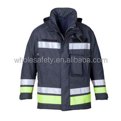 Navy blue Flame Retardant visibility fireman suit, firefighter protective clothing