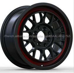 Fonte 15 pouces jantes et roues vossens xxr TL01086 réplique roue sur les ventes noir avec rouge à lèvres alliage roues jantes