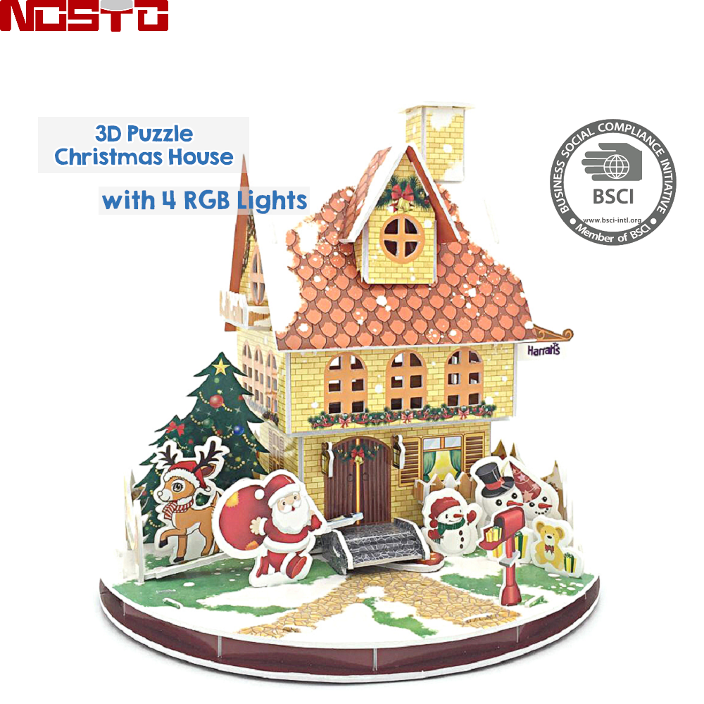 LED 3D Jigsaw Puzzle Christmas Castle for Children, A Cool Nighttime Display, Celebrate the Holiday