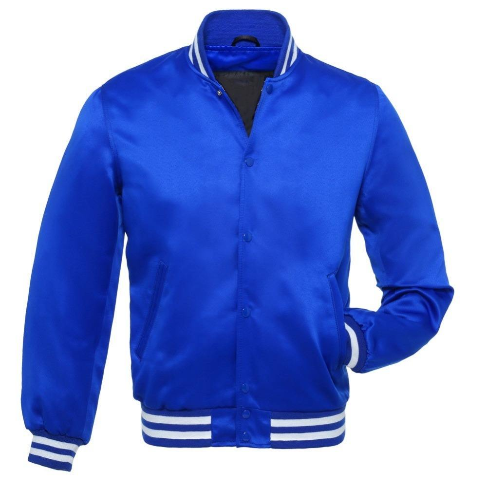 men nylon high quality blank custom wholesale satin varsity letterman baseball bomber jacket