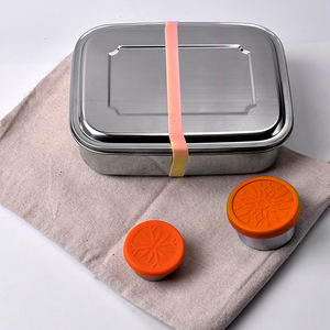 hot selling amazon 800 1000 1800ml rectangle airtight dry food storage container set lunch box stainless steel with elastic band