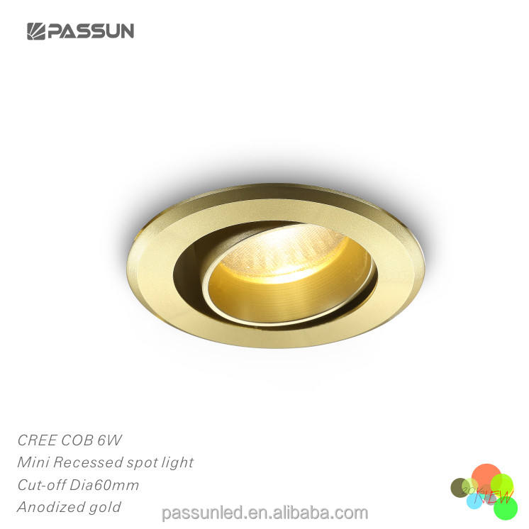 aluminium anodized gold small round shape recessed led spotlights