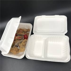 Custom 2 compartment sugarcane bagasse clamshell to go box 100 compostable biodegradable chicken box fast food