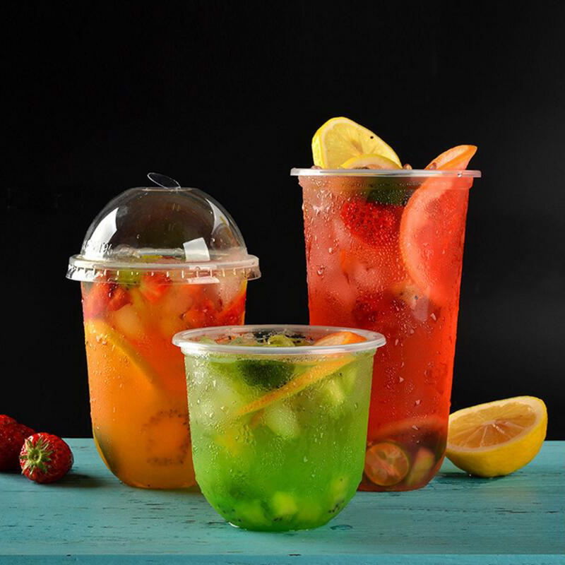 Summer Clear U Shape Disposable PP Plastic Cup for Bubble Tea with Black Lid