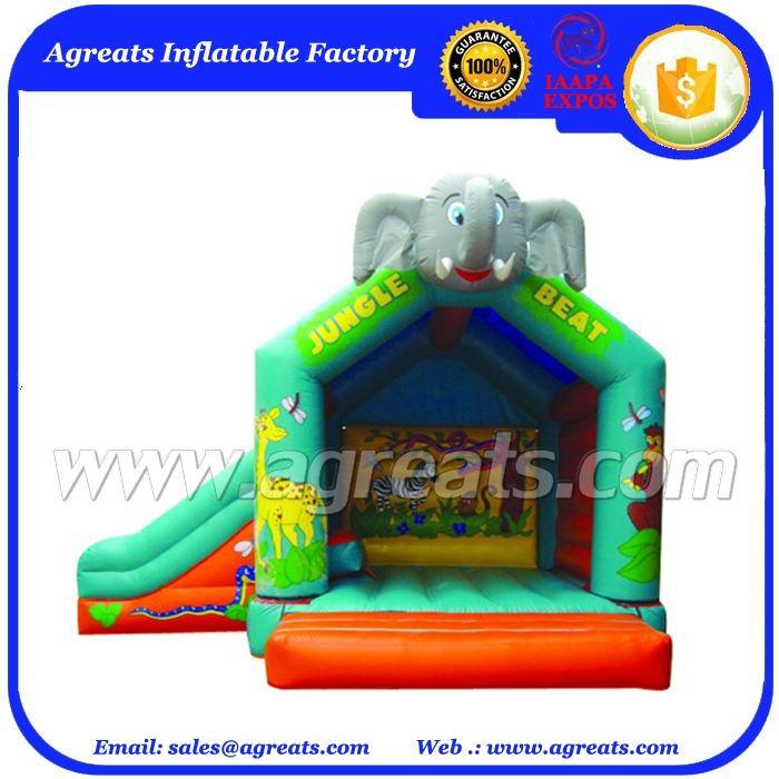 Inflatable động vật elephant head nhà <span class=keywords><strong>bị</strong></span> <span class=keywords><strong>trả</strong></span> <span class=keywords><strong>lại</strong></span> không có cửa với trượt cho trẻ em kết hợp bơm hơi nhảy G3021