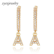 Wholesale 2019 new women jewelry gold-plated A-F letters drop earrings