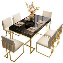 European simple style metal frame marble dining room table set ,modern dining table with two colors