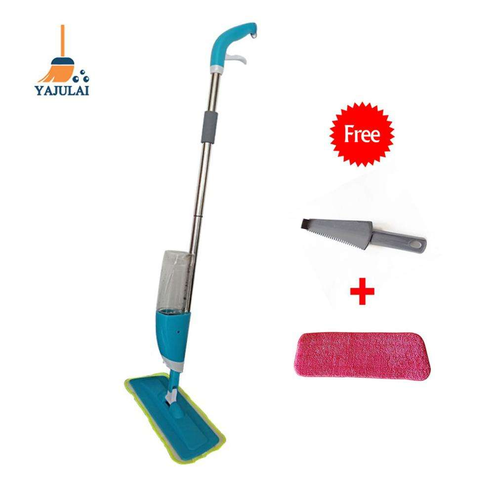 2019 popular india online shopping household items hand free squeeze dust spray flat mop with magic mob head