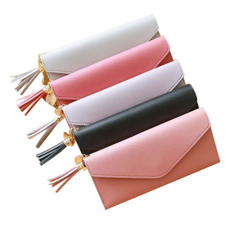 Heart Pendant Solid Color Simple Wristlet Bag Wallet Envelope Clutch Bag Wallets With Card Positions