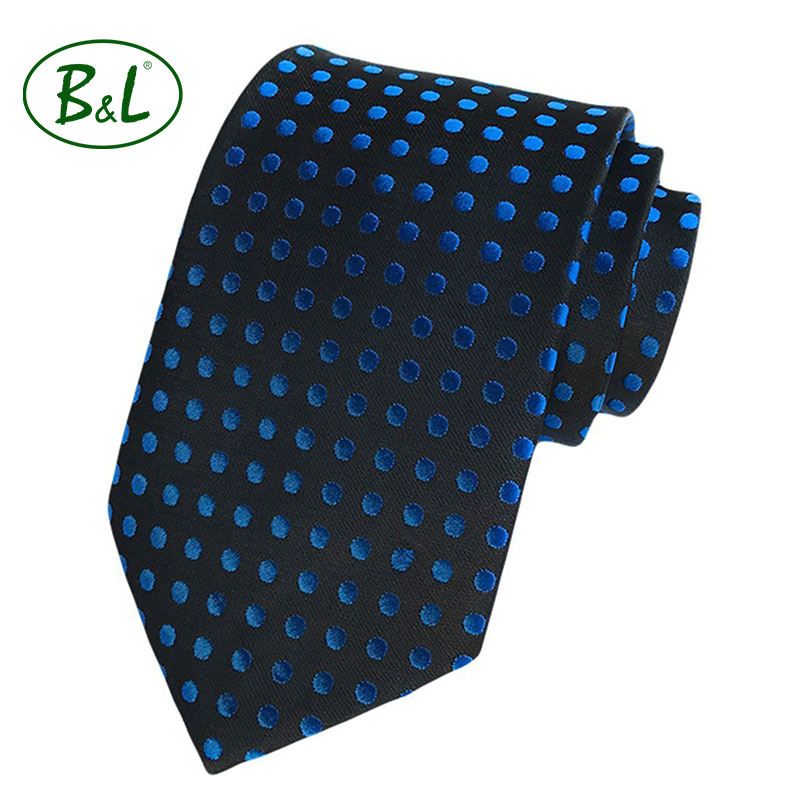 100% Silk Woven knitted tie Blue Satin Dot Black Tie