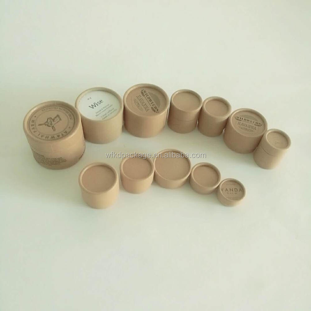Custom size eco friendly cardboard kraft paper cosmetic container jars