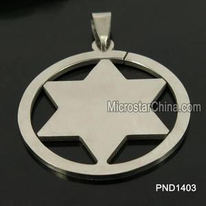 202L 35 * 35 * 2 mm 2014 gros creux argent en acier inoxydable étoile de david pendentif