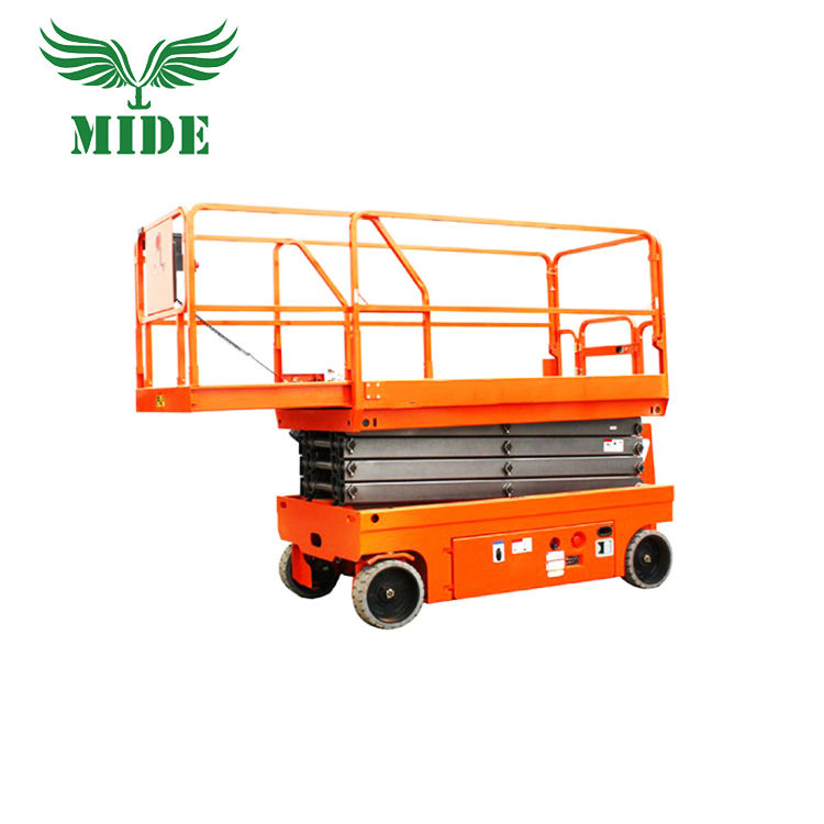 Self Propelled Scissor Lift Platform Hydraulic Motor Drive with DC Rechargeable Battery