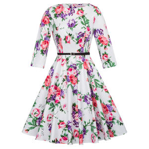 BP000409 Belle Poque Womens Retro Vintage Bloem Patroon 3/4 Mouwen Ronde Hals Katoen Swing Party Dress