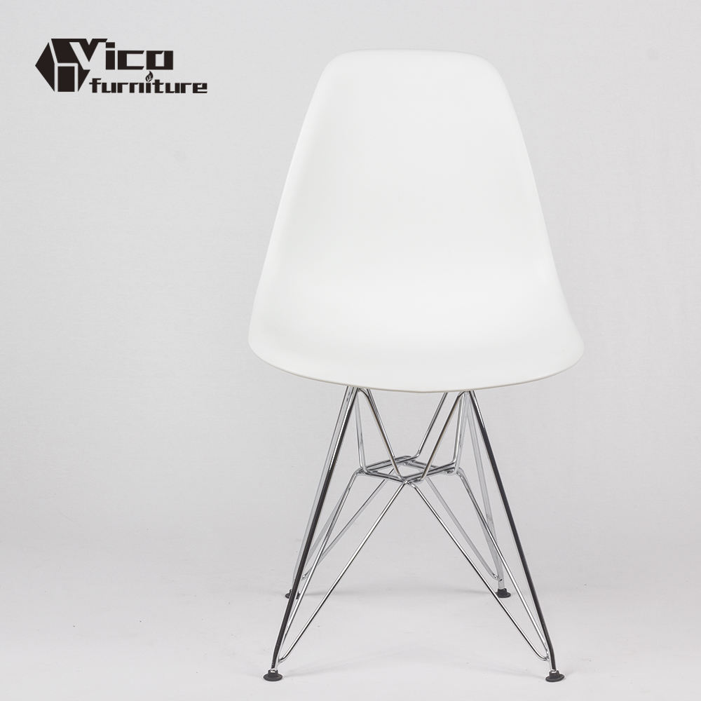 High quality wholesale modern style white chrome stainless steel legs dining chair