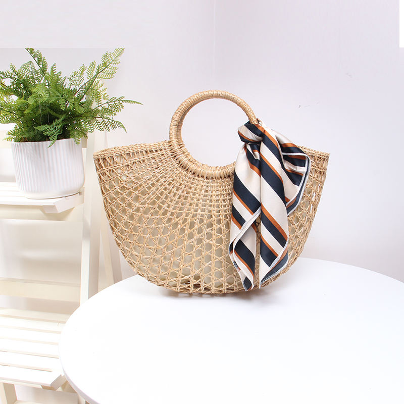 2018 hot sale beach weaving handbags straw bamboo bag rattan bag