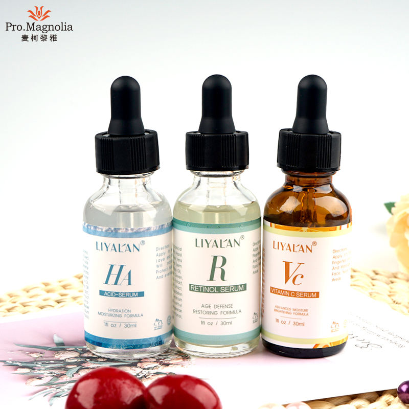 private label anti aging anti wrinkle vitamin c/retinol /hyaluronic acid face serum set
