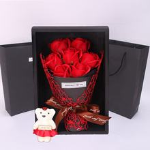 7 roses soap flower Bouquet gift box bear red rose valentines day wedding day gift