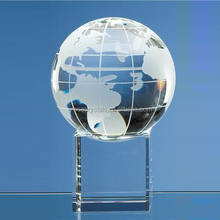 Glass earth globe themed trophy clear crystal glass globe