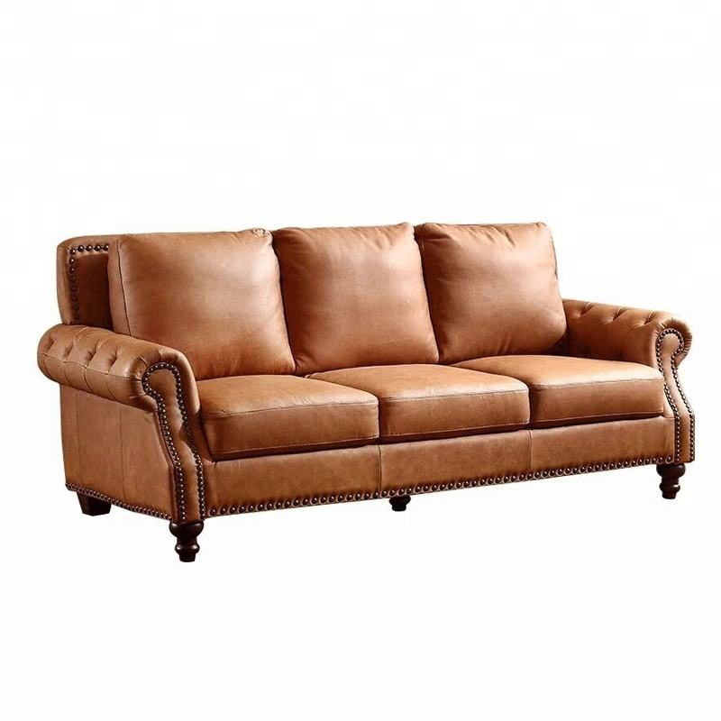 China factory furniture genuine leather sofa sets American vintage leather sofa classic home furniture
