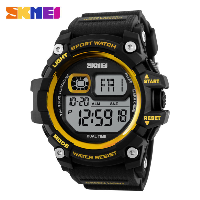 Skmei 1229 black gold watch relojes digitales skemi watches