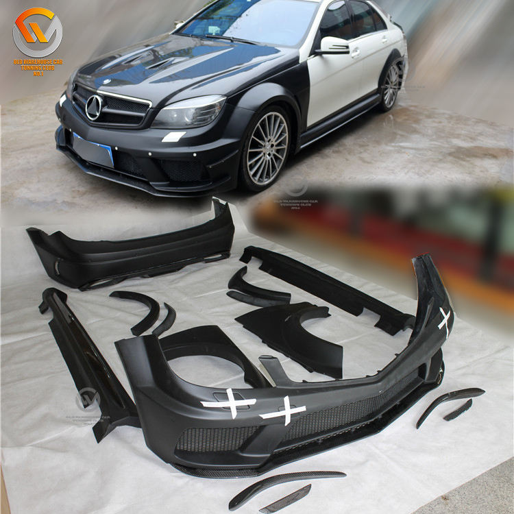 Fit 2012-2014 C Class W204 4DR Sedan Coupe Black Series C63 AMG Style Auto Parts Wide Body Kit