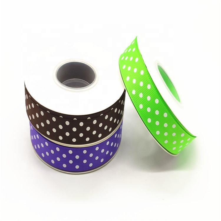 2019 le Ruban Stock Printed ribbon in 3rolls set packing 25Yard 22mm Grosgrain dots Ribbon