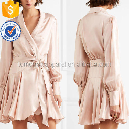 Long Sleeve Cloud Pink V-Neck Silk Wrap Summer Mini Dress Manufacture Wholesale Fashion Women Apparel (TA0115D)