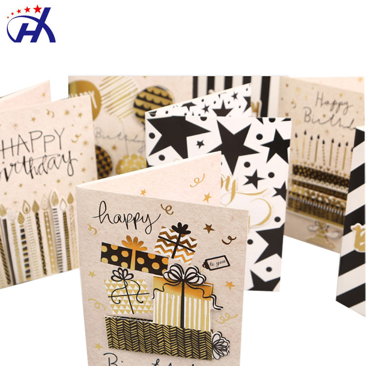 FSC Paper 3D Pop Up Glitter Hot Stamping Happy Birthday Greeting Cards with Music Lights