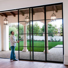Gaoming black color slim frame customized aluminium windows and doors