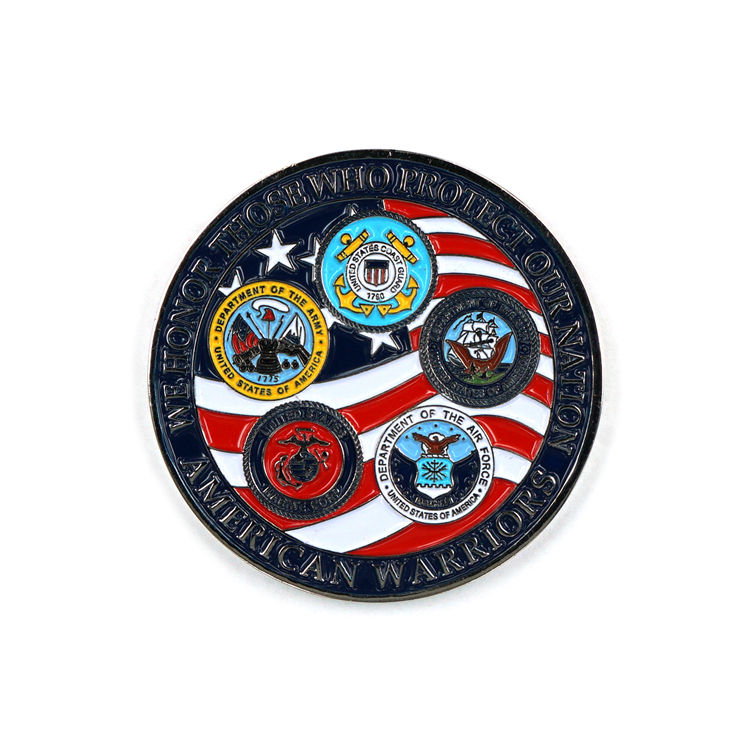 Custom Military Souvenir Army Commemorative Sports Metal Soft Enamel Challenge Coin