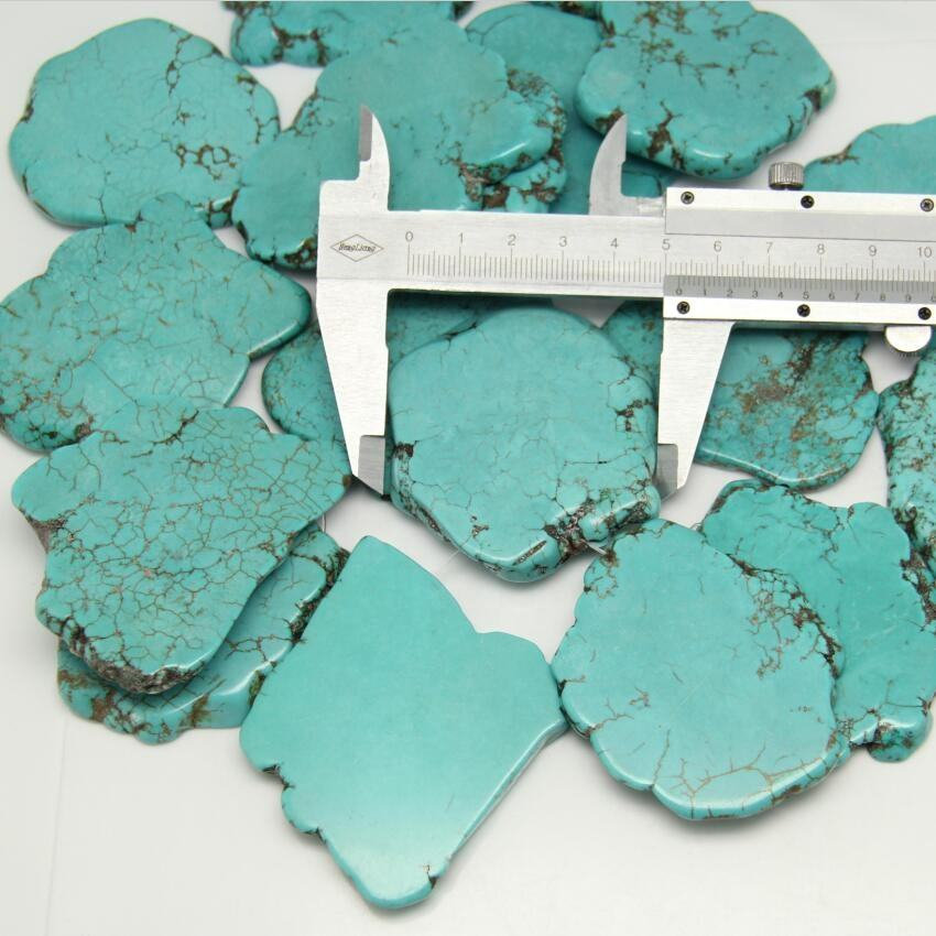 AM-YXJ23 Large Blue Turquoise Slab Beads Bulk,Not Drilled Turquoise Gemstone Beads Pendant,Magnesite Slice Beads stone Supplier