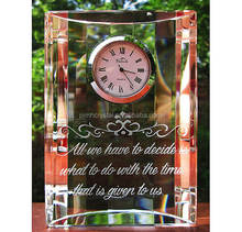MH-ZB0034 Wholesale hot crystal wedding favors gifts anniversary souvenirs with custom logo crystal clock