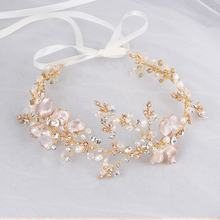 Gold Leaf Wedding Hair Crown Headband Rhinestone Bridal Pearl Hair Vine Accessories Jewelry Headpiece For Women