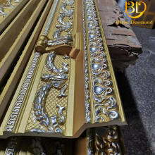 Factory price 21cm width Silver and gold colour Popular decorative polyurethane carving cornice moulding for hotels