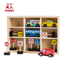 Hot New wholesale children educational traffic sign small mini wooden car toy for kids