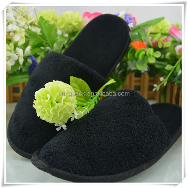 Black Coral Fleece Hotel Slippers with Embroidered Logo Guest Slippers for Hotel Amenities
